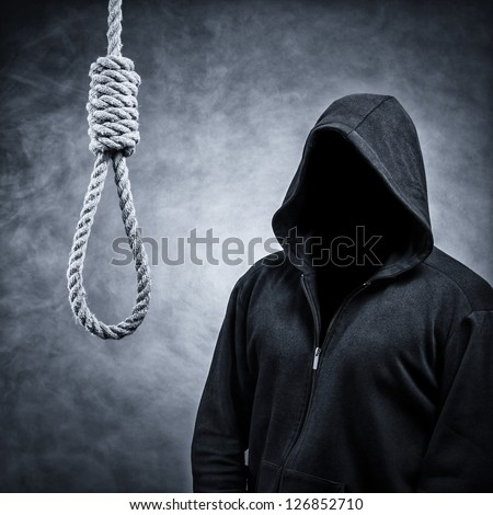 Noose and the invisible man in the hood.Background in smoke - stock photo