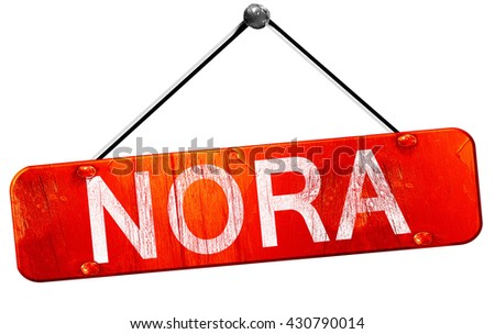 Nora, 3D rendering, a red hanging sign