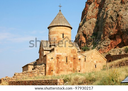 Noravank monastery in Armenia, red rocky mountains.