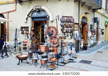 NORCIA PERUGIA UMBRIA,  ITALY, AUGUST 23 - typical and picturesque local craft store August 23 2014, norcia, umbria italy - stock photo