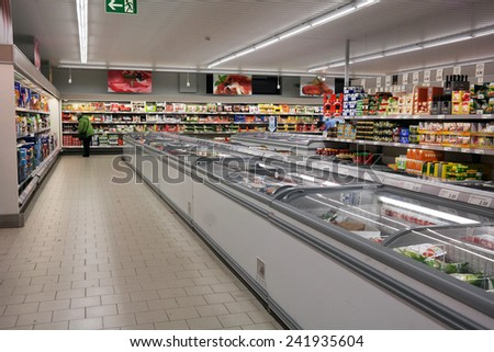 NORDHORN, GERMANY - DECEMBER 23: Interior of Aldi supermarket, Aldi is a global discount supermarket chain with over 9,000 stores in over 18 countries. Taken on December 23, 2014 in Nordhorn, Germany - stock photo