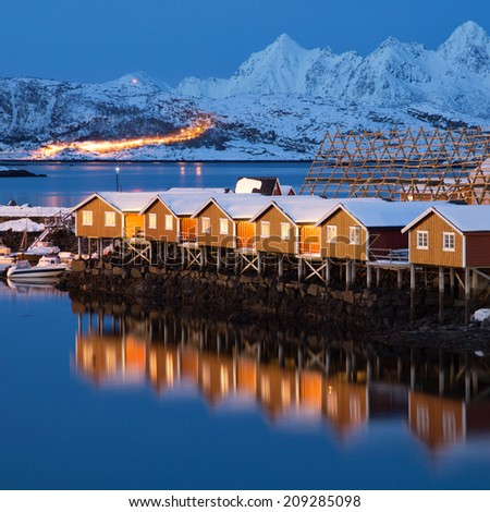 nordic houses - stock photo