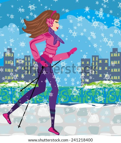 Nordic walking - active woman exercising in winter  - stock photo