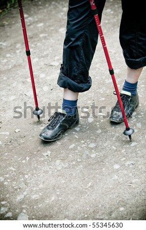 Nordic walking feet close-up