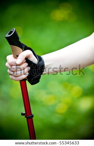 Nordic walking hand close-up