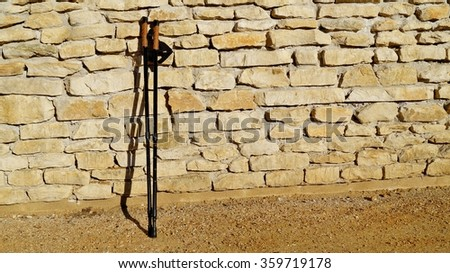 Nordic walking on the spring park. Active and healthy lifestyle. - stock photo