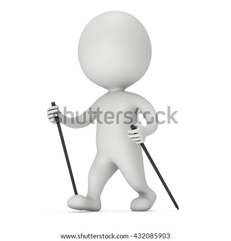 Nordic walking white blank man. 3d render illustration isolated on white background. Concept of helthcare and fitness small people.