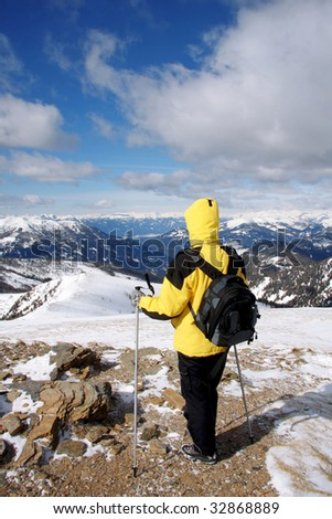nordic walking with beautiful woman at winter - stock photo