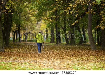 Nordic walking woman in vibrant autumn forest
