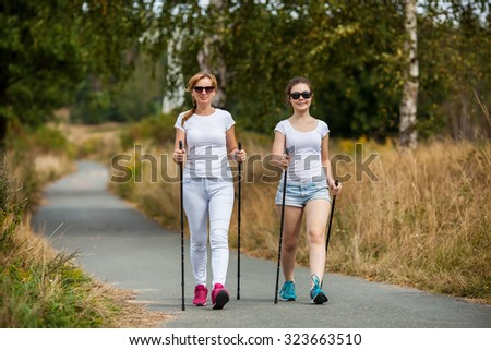 Nordic walking - women working out