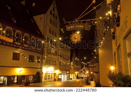 NORDLINGEN, GERMANY - DECEMBER 21, 2012: Beautiful view by night of the historic town of Nordlingen, Bavaria, Germany - stock photo