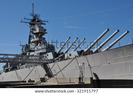 NORFOLK, VA - SEP 11: USS Wisconsin Battleship (BB-64) in Norfolk, Virginia, as seen on Sep 11, 2015. It was built at the Philadelphia Naval Shipyard, Pennsylvania and launched on 7 December 1943.