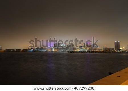 Norfolk WaterSide Wide Angle Night Photo - stock photo