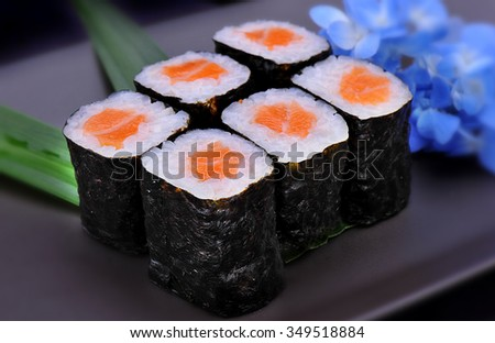 Nori maki American roll sushi and  Japanese rice style