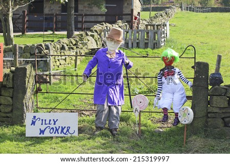NORLAND , UK - SEPTEMBER 5, 2014: The Norland Scarecrow Festival in West Yorkshire, is now in its 15th year and this year the scarecrow trail takes its theme from musicals.