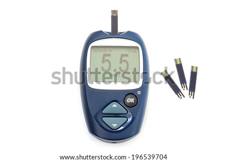 Normal blood sugar level on the screen glucometer - stock photo