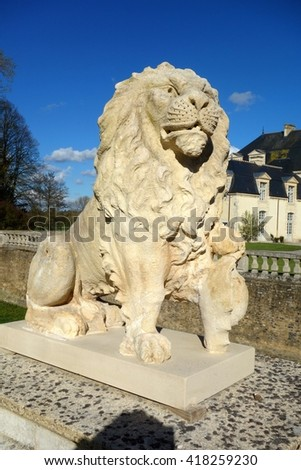 NORMANDY, FRANCE - MAY 5. The Chateau of Medavy is an 18th century castle with classical architecture inspired by Mansart in Normandy, France on May 5th, 2016. - stock photo