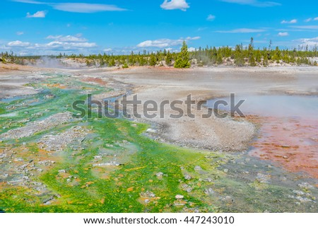 Norris Geyser Basin in Yellowstone National Park - stock photo