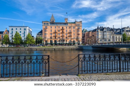 NORRKOPING, SWEDEN - AUGUST 4: Grand Hotel and Motala river on August 4, 2015 in Norrkoping. Grand Hotel is one of the most fashionable hotels in Norrkoping.