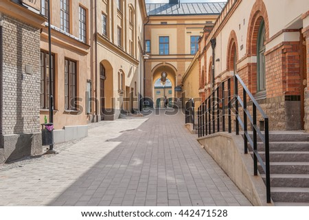 NORRKOPING, SWEDEN - JUNE 6: Knappingsborg city block on June 6, 2010 in Norrkoping. Norrkoping is an old industrial town and the city block was a former snus factory dating back to the 18th century.