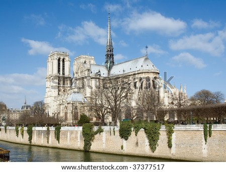 Norte Dame de Paris.  Sunny spring day in Paris - stock photo