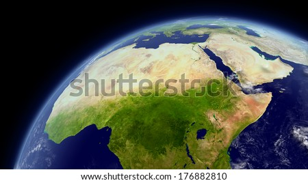 North Africa viewed from space with atmosphere and clouds. Elements of this image furnished by NASA.