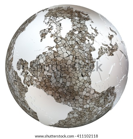 North America and Europe on metallic model of planet Earth. Shiny steel continents with embossed countries and oceans made of steel plates. 3D illustration isolated on white background. - stock photo