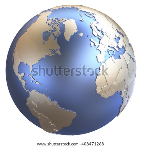 North America and Europe on metallic model of planet Earth with embossed continents and visible country borders. 3D illustration isolated on white background. - stock photo