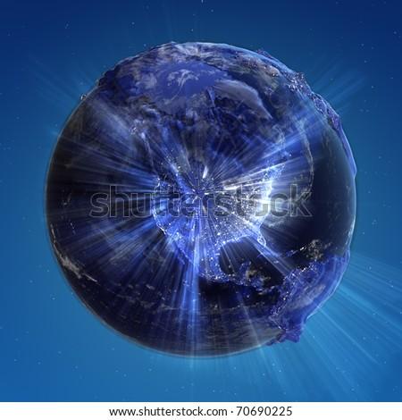 North America city lights. Earth map from NASA - stock photo