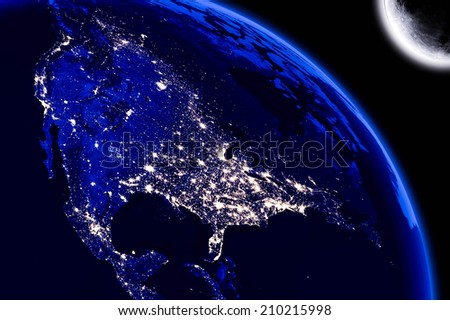 North America City Lights. Maps From NASA Imagery - stock photo