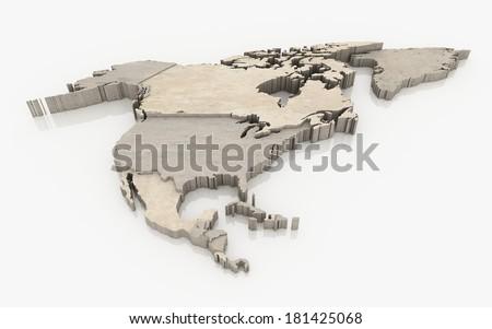 north america continent - concrete surface - stock photo