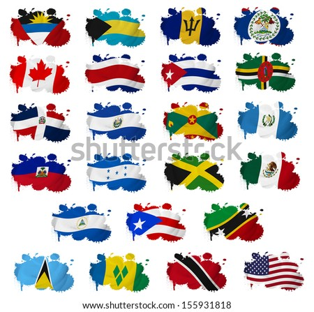 North America countries(without Panama) flag blots on a white background - stock photo