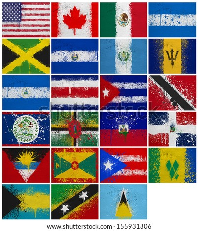North America Countrieswithout Panama Flags On Stock Illustration - Panama flags
