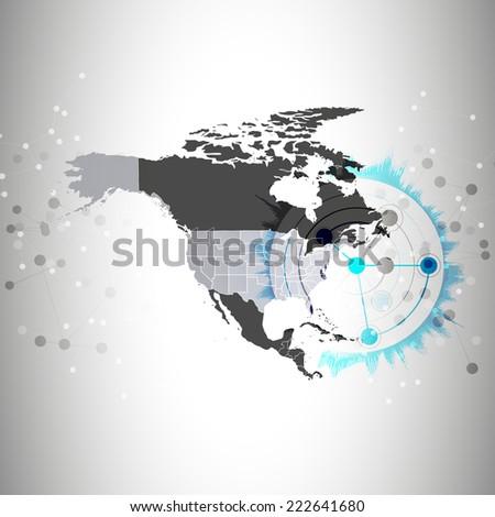 north america map background, illustration for communication. - stock photo