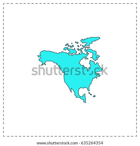 North america map color simple flat stock illustration 436297633 north america map blue simple pictogram with black stroke on white background flat icon sciox Gallery
