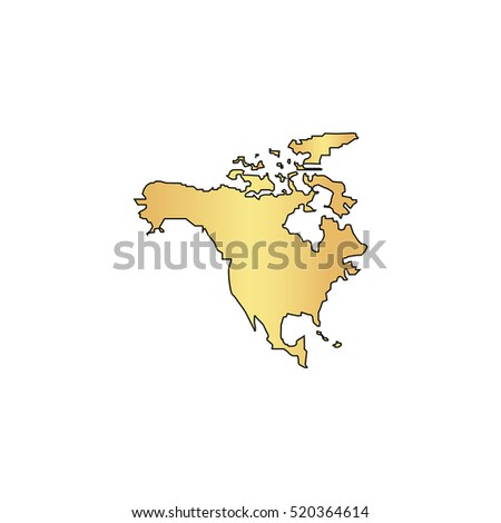 North america map simple flat icon stock illustration 303227219 north america map flat gold icon with black stroke simple illustration on white background sciox Gallery