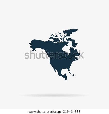 North America Map. Flat web icon or sign on grey background with shadow. Collection modern trend concept design style illustration symbol - stock photo