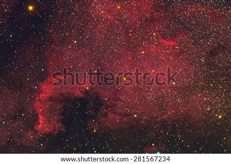 North America Nebula with stars and space dust in the universe long expose. - stock photo