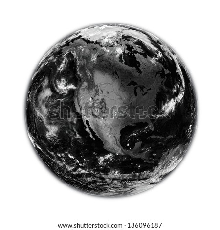 North America on black planet Earth isolated on white background. Elements of this image furnished by NASA.