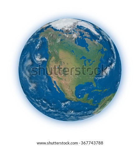 North America on blue planet Earth isolated on white background. Highly detailed planet surface. Elements of this image furnished by NASA. - stock photo
