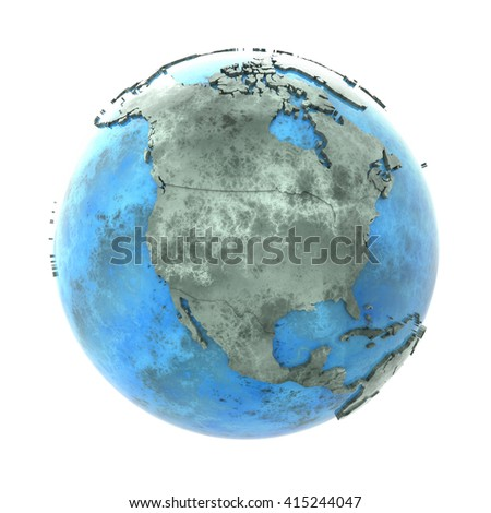 North America on 3D model of planet Earth made of blue marble with embossed countries and blue ocean. 3D illustration isolated on white background.