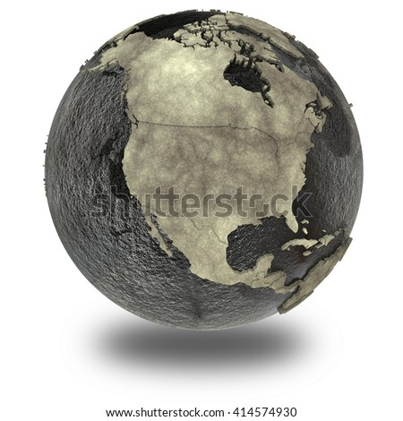 North America on 3D model of planet Earth with black oily oceans and concrete continents with embossed countries. Concept of petroleum industry. 3D illustration isolated on white background.