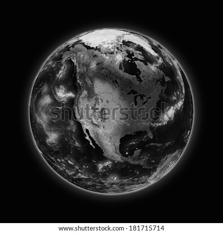 North America on dark planet Earth isolated on black background. Highly detailed planet surface. Elements of this image furnished by NASA.