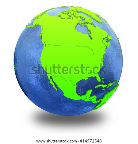 North America on elegant green 3D model of planet Earth with realistic watery blue ocean and green continents with visible country borders. 3D illustration isolated on white background with shadow.
