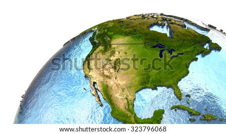 North America on highly detailed planet Earth with embossed continents and country borders. Elements of this image furnished by NASA.
