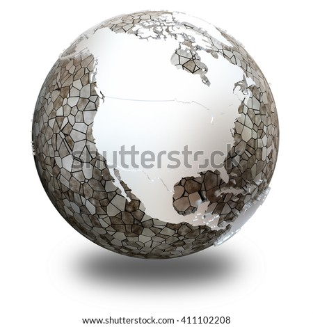 North America on metallic model of planet Earth. Shiny steel continents with embossed countries and oceans made of steel plates. 3D illustration isolated on white background with shadow.
