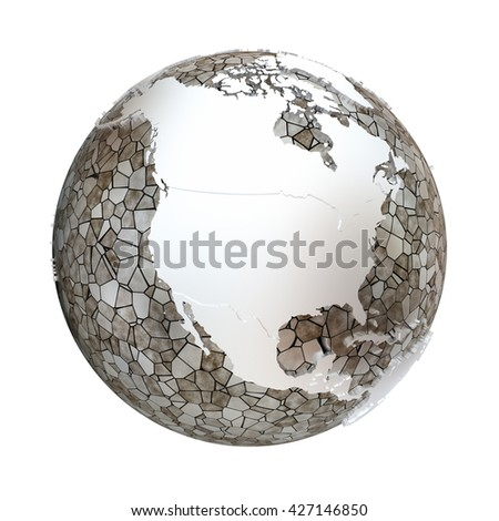 North America on metallic model of planet Earth. Shiny steel continents with embossed countries and oceans made of steel plates. 3D illustration isolated on white background.