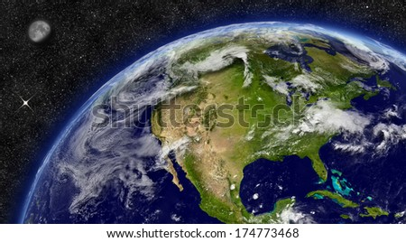 North America on planet Earth from space with Moon and stars in the background. Elements of this image furnished by NASA. - stock photo