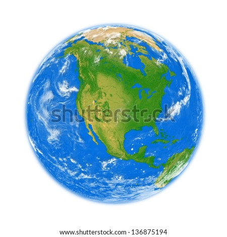 North America on planet Earth isolated on white background. Elements of this image furnished by NASA.