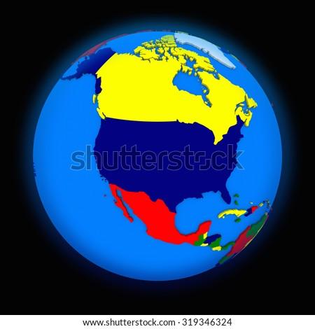 north America on political globe on black background - stock photo